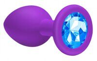 Анальная пробка Emotions Cutie Large Purple light blue crystall 10 см